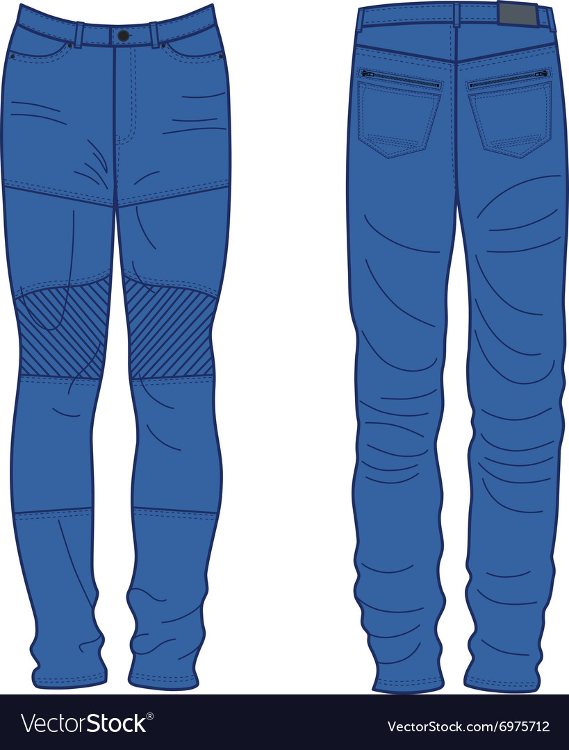 Unisex outlined template jeans front back view vector image