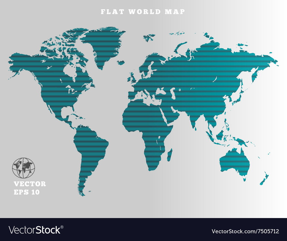 World map striped turquoise map silhouette on vector image gumiabroncs Choice Image