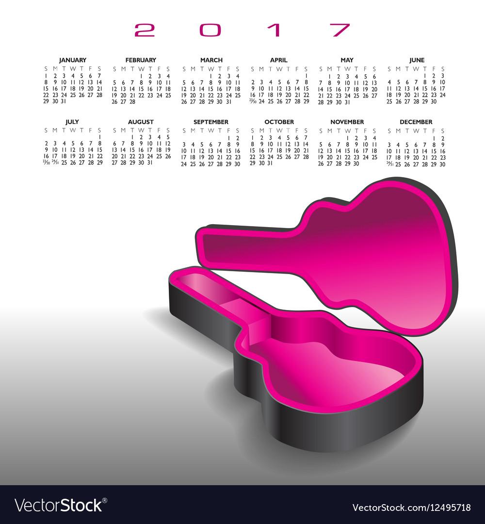 A 2017 calendar with an empty guitar case vector image