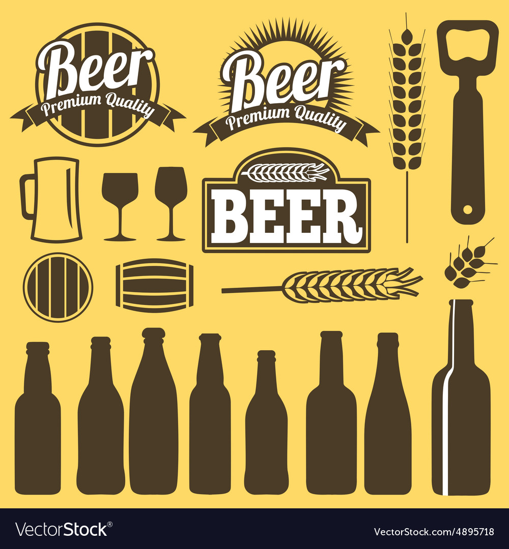 Beer icons labels signs symbols design vector image