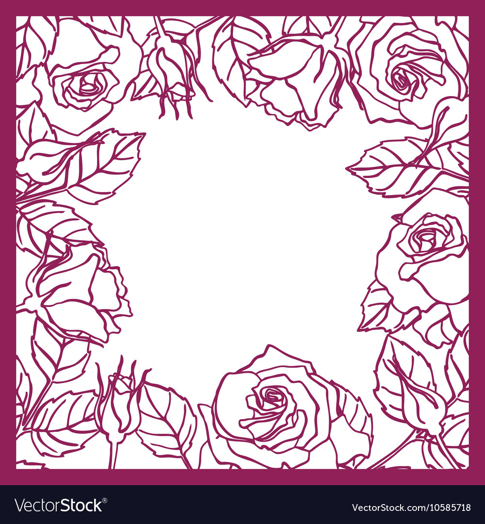 Laser cut rose square frame Cutout pattern vector image