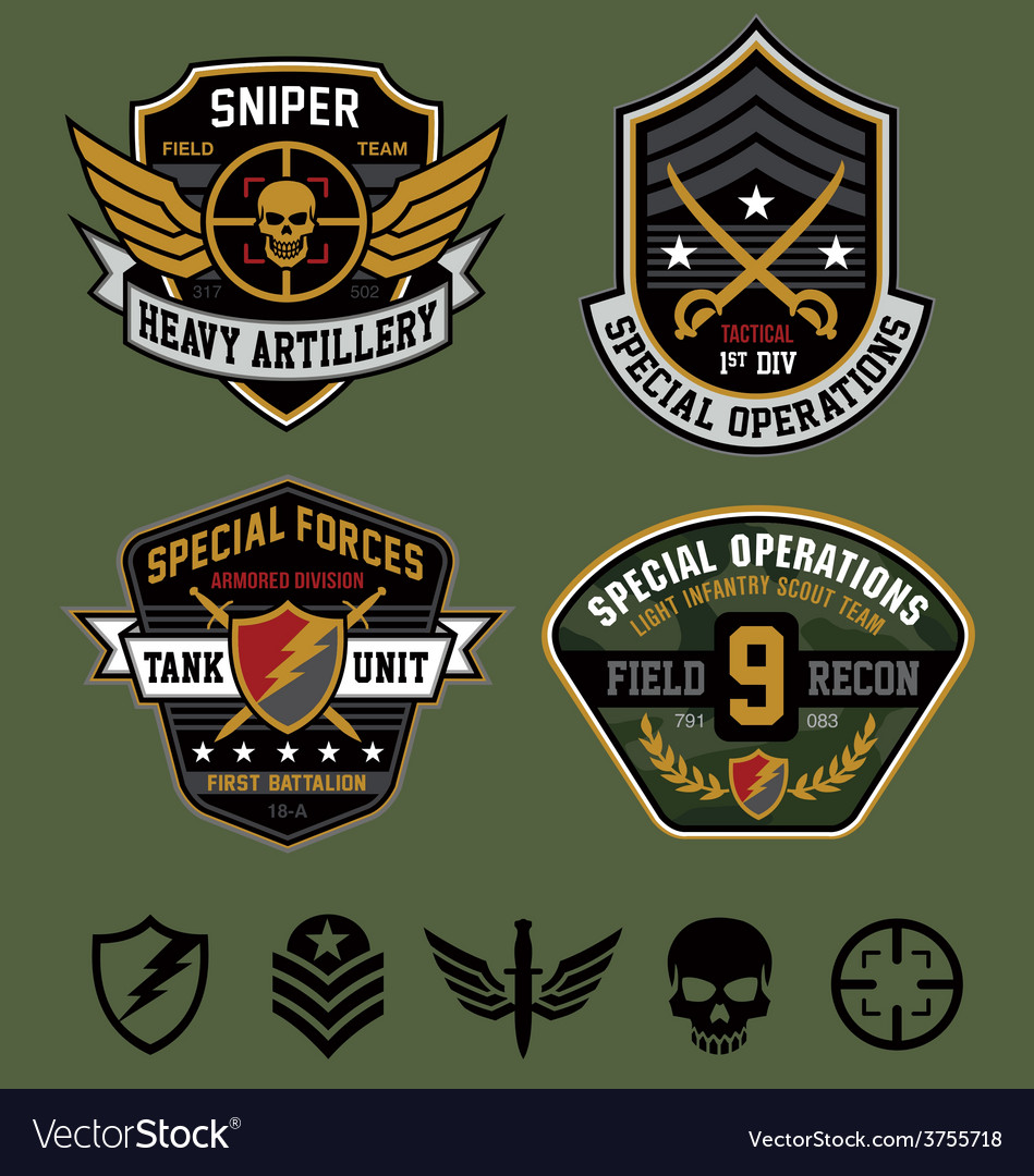 Special ops military patches vector image