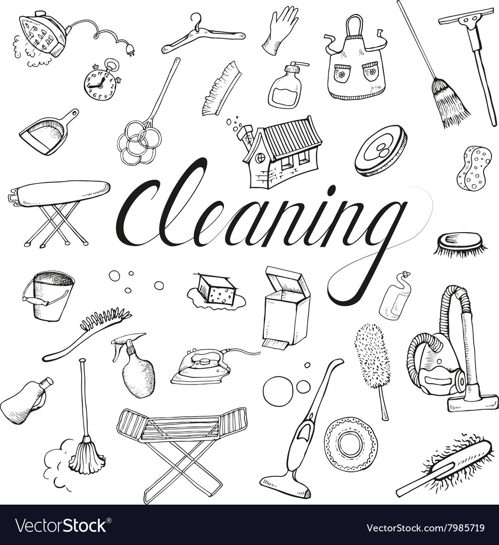 Set icon of cleaning service vector image
