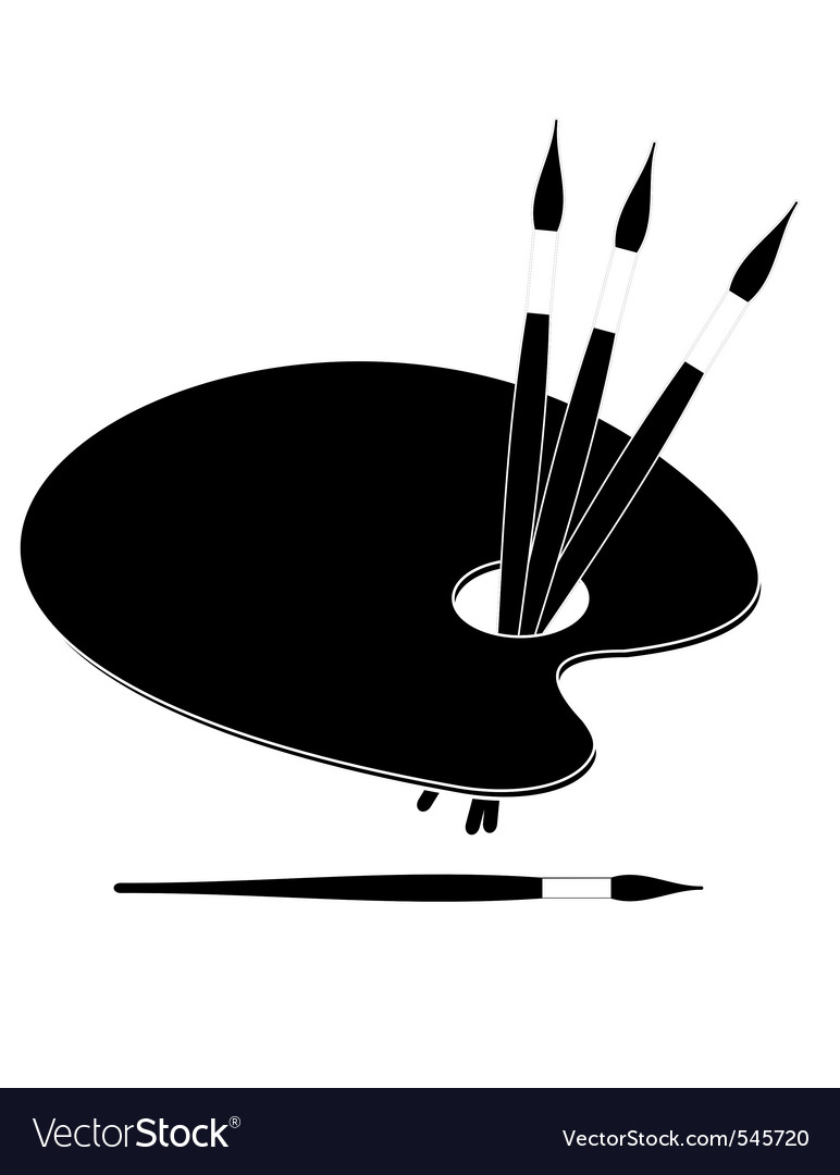 Palette and paint brushes vector image