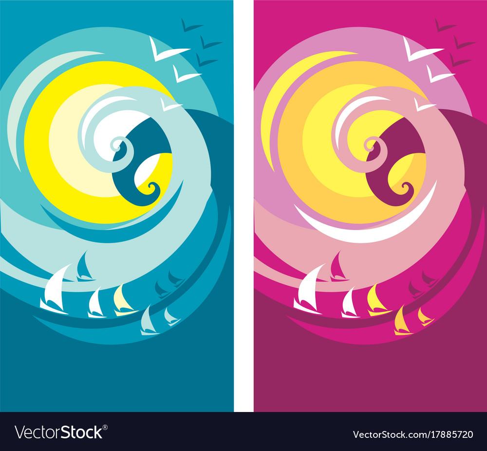 Big summer wave poster vector image