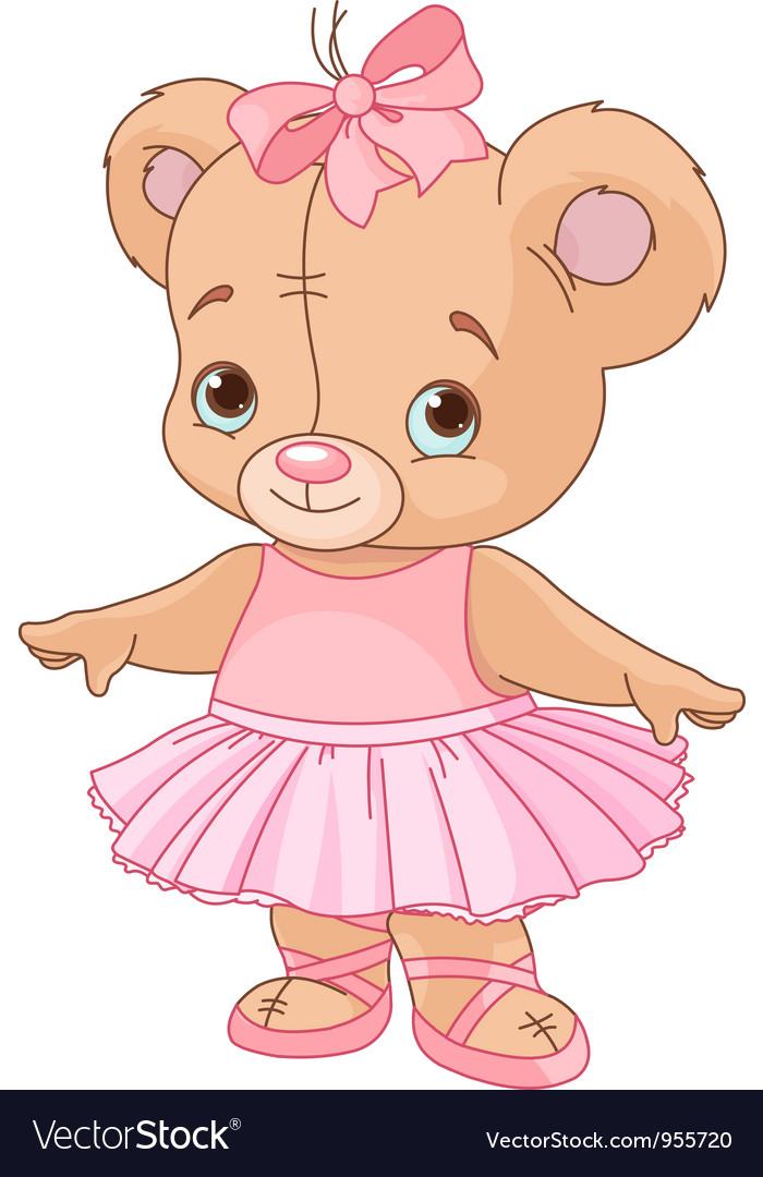 Cute Teddy Bear Ballerina vector image