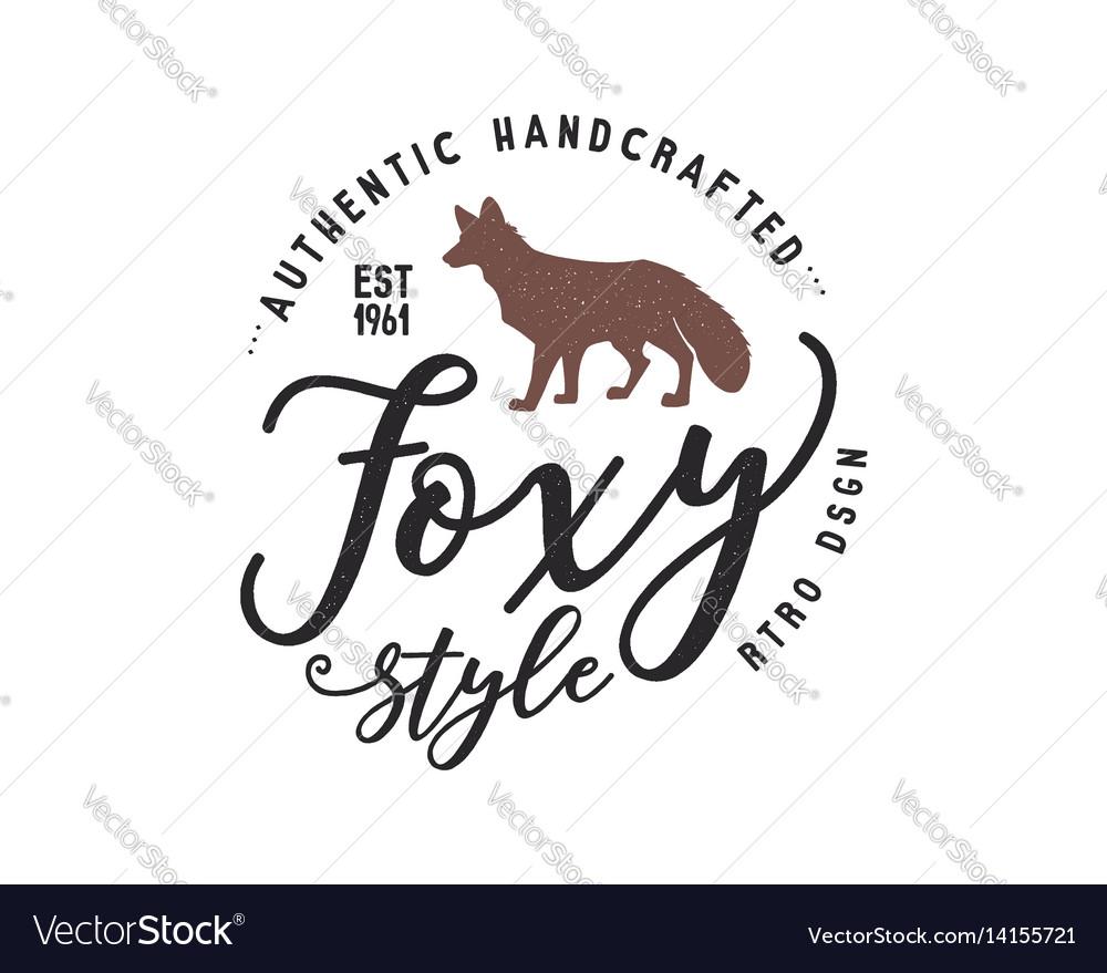 Vintage hand drawn wild animal label fox vector image