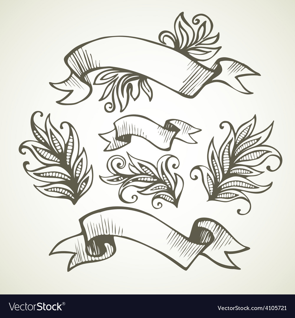 Vintage Ribbon Hand drawn vector image