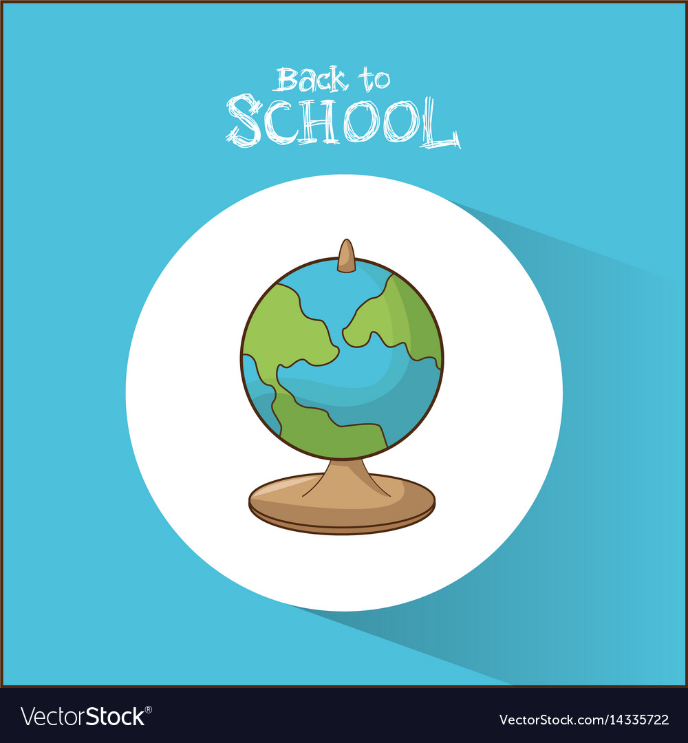 Back to school globe map symbol blue background vector image