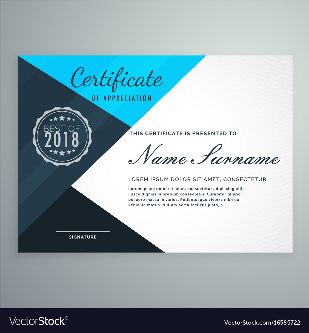 Elegant blue diploma certificate design template vector image yadclub Image collections