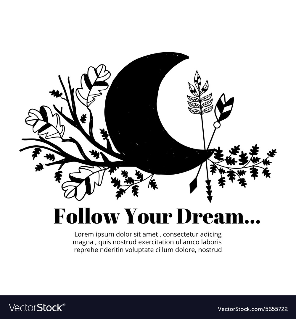 Moon and arrows leaves branches label on white vector image