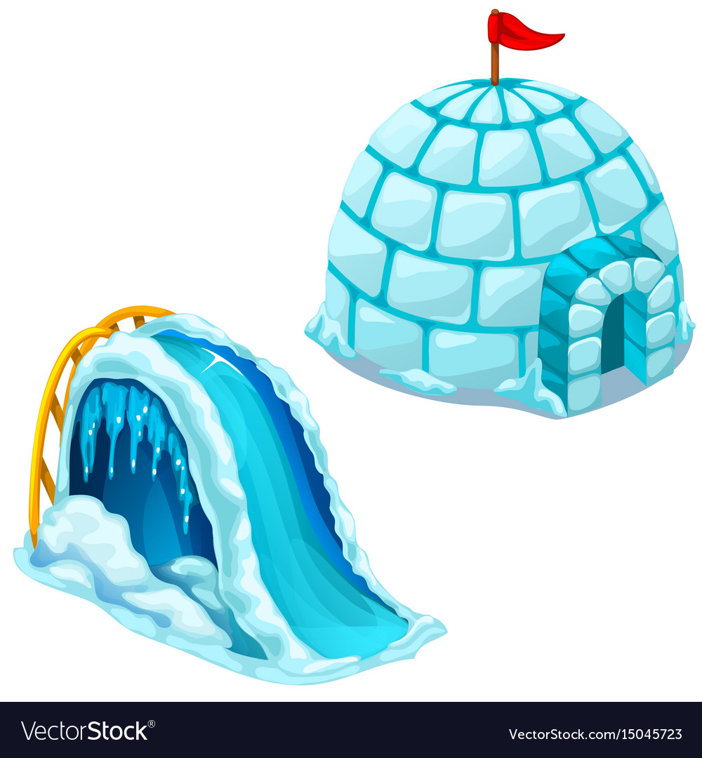 Ice house igloo and childrens ice slide vector image