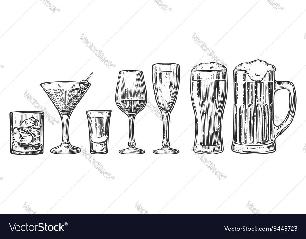 Set glass beer whiskey wine tequila cognac vector image