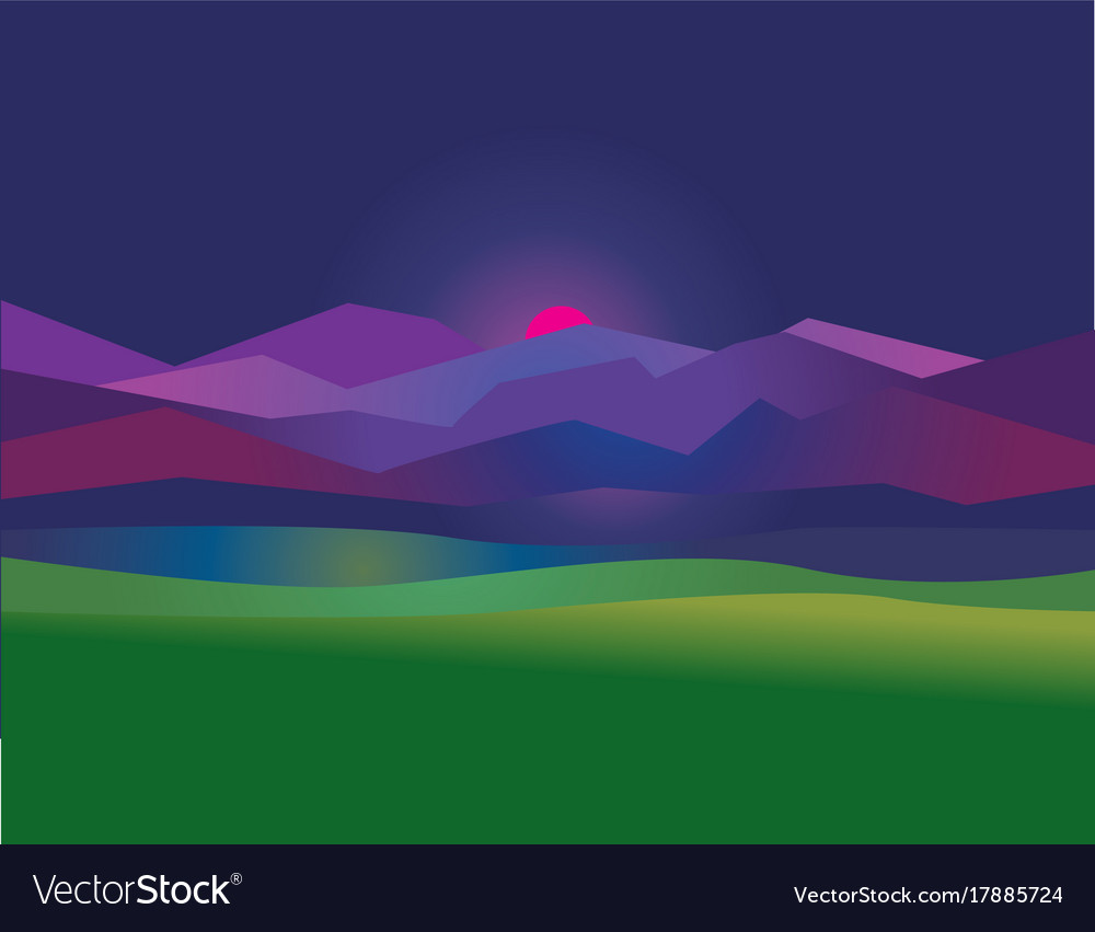 Concept Simple Night Mountain Sunset Landscape Vector Image