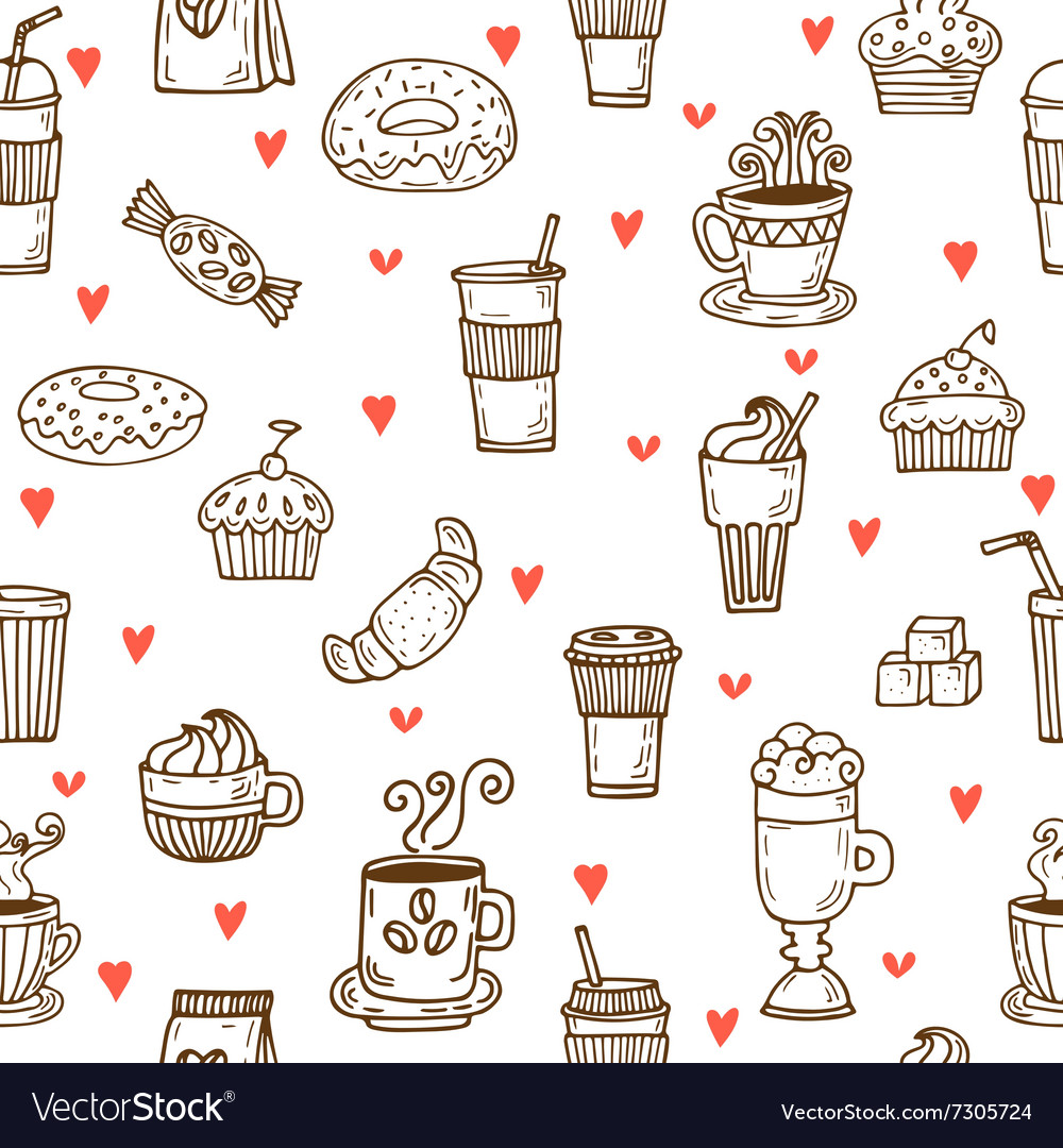I love coffee Hand drawn seamless pattern with vector image