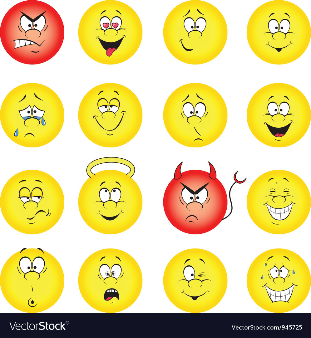 Smileys collection Vector Image