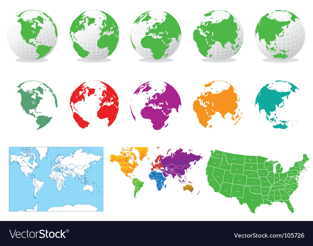 Colored globes and maps Vector Image