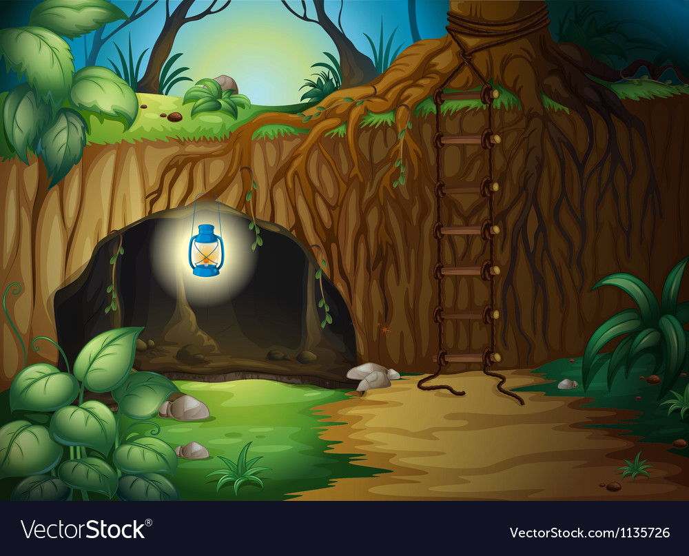 A cave in the jungle vector image