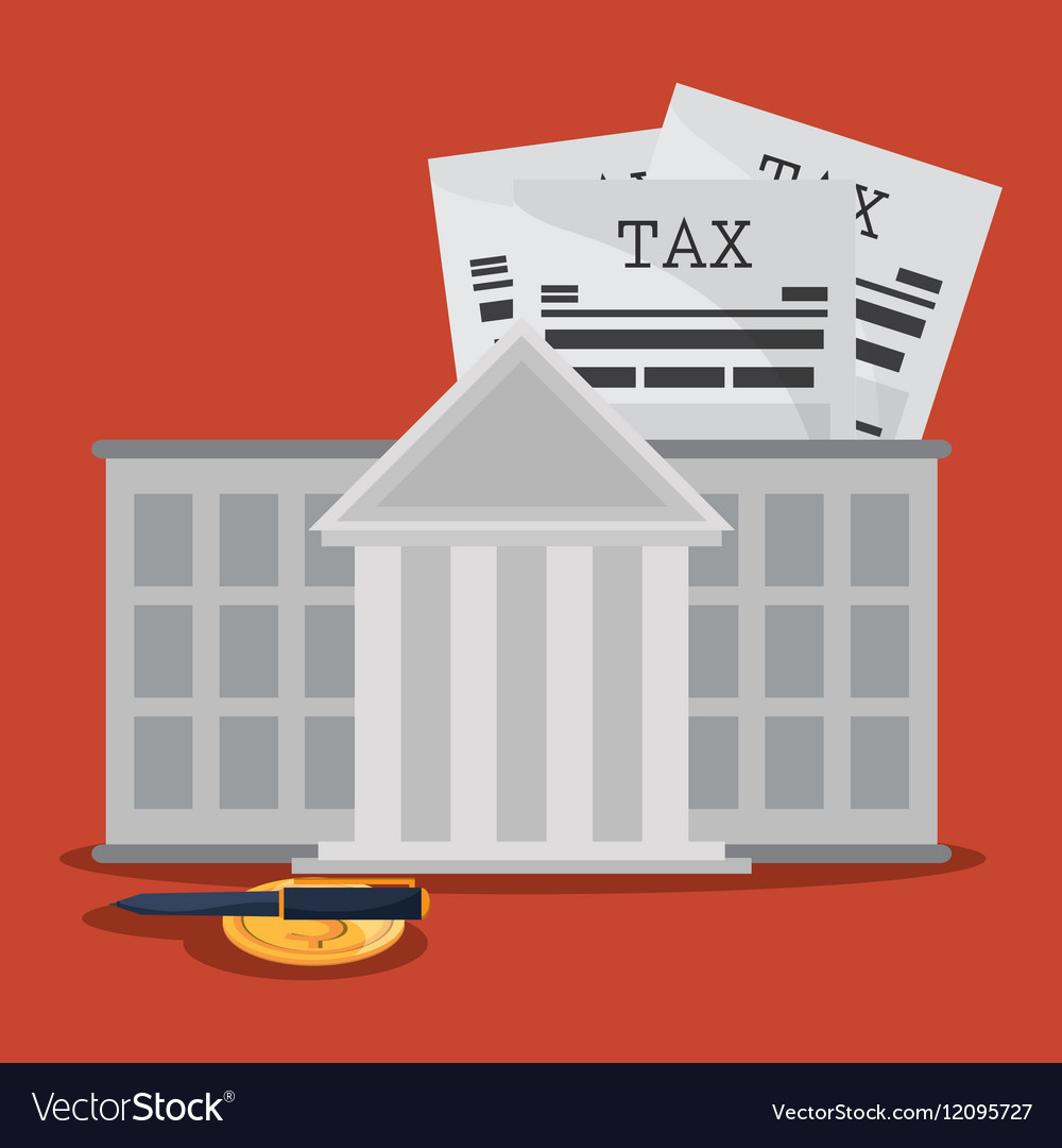 Document bank coin and pen icon Tax and Financial vector image