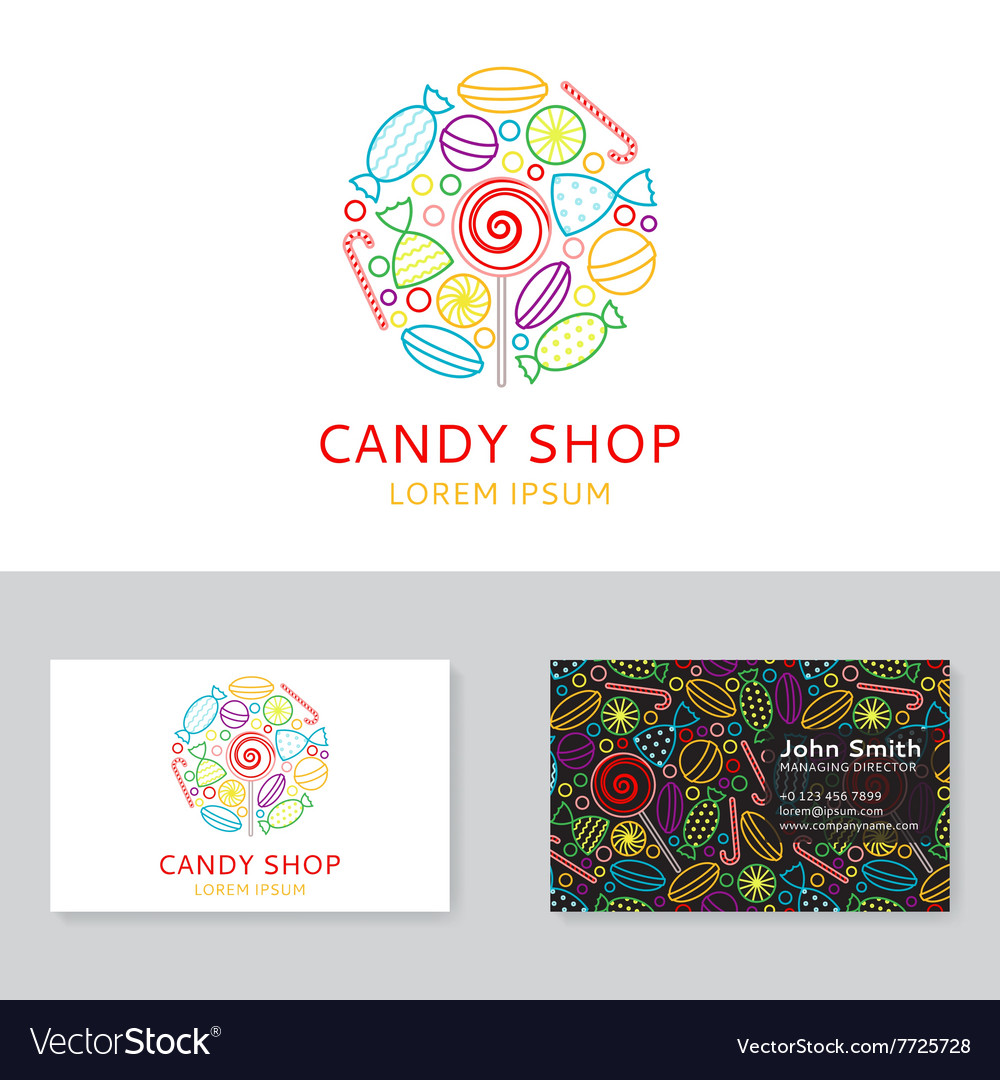 Candy shop logo and business card Royalty Free Vector Image