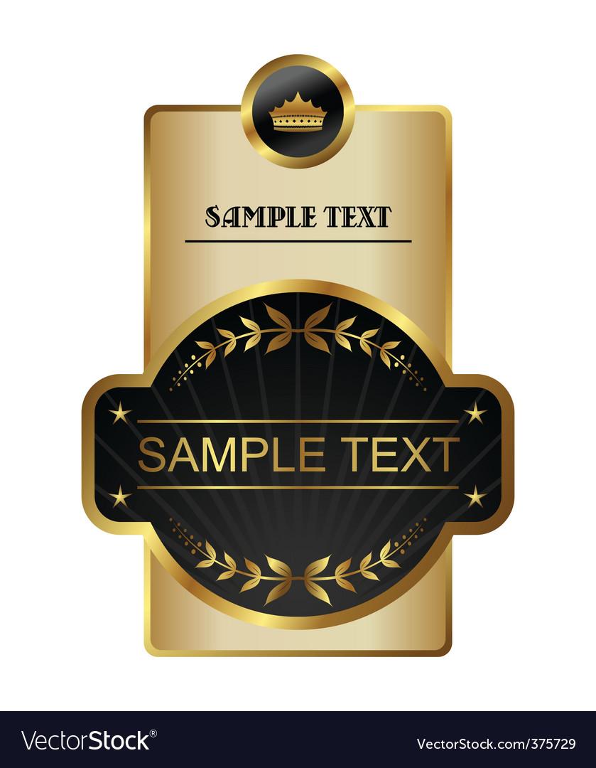Retro black gold framed label vector image