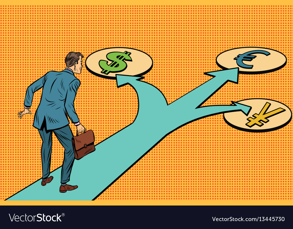 Financial crossroads a choice of currencies vector image