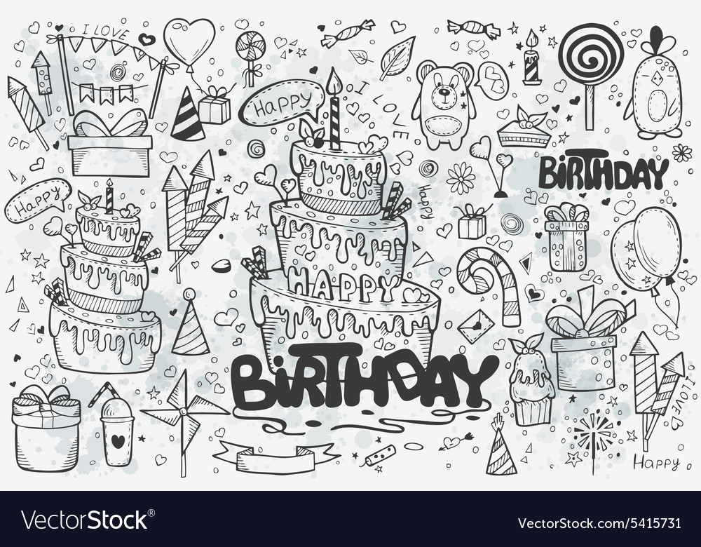 Large set of hand drawn doodles to birthday vector image