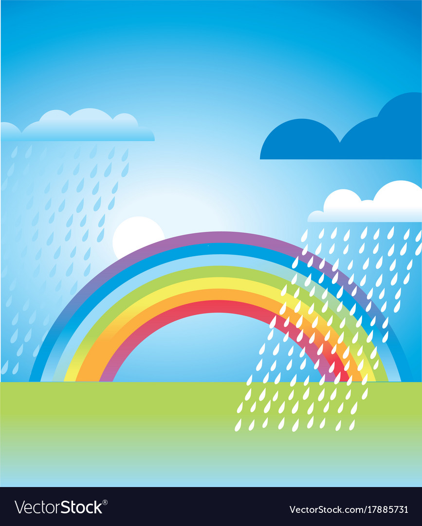 Simple rainbow landscape in vivid color vector image