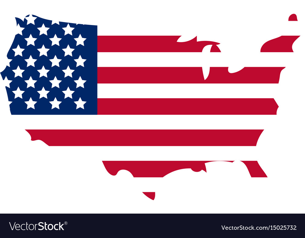 Map of america icon flat style isolated on white vector image