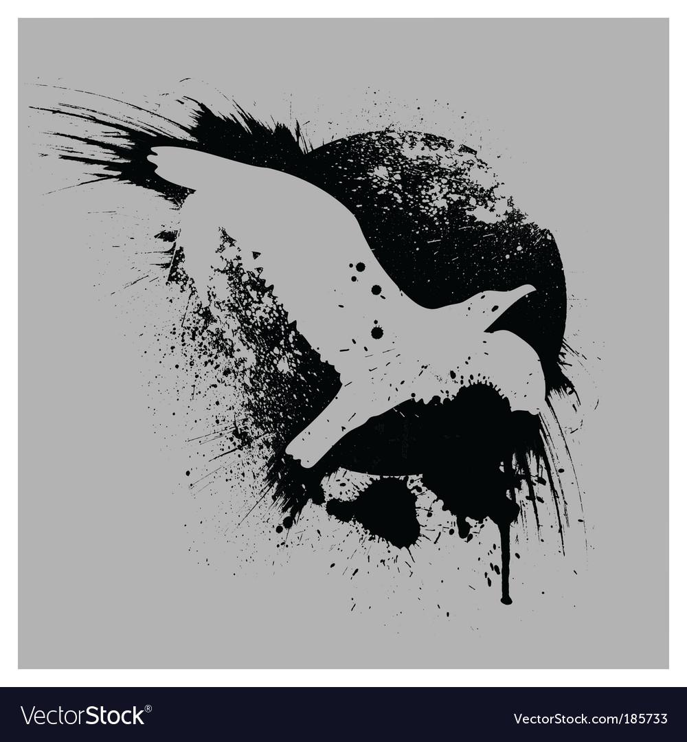 Grunge bird vector image