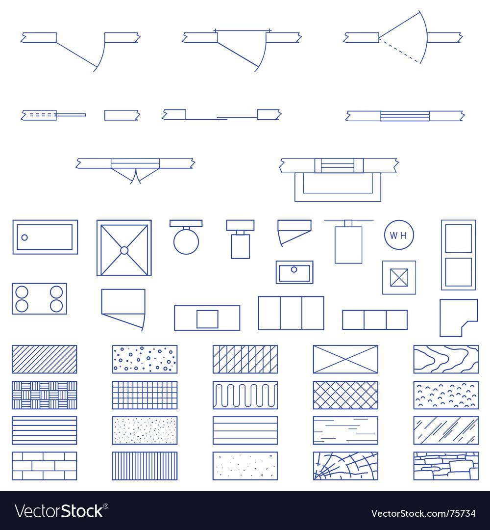 Architecture blueprint symbols royalty free vector image for Architecture blueprint