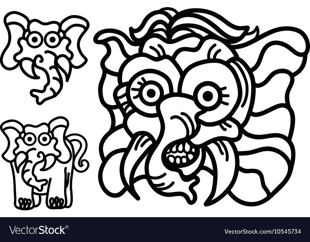 Elephant hand write emblem logo vector image