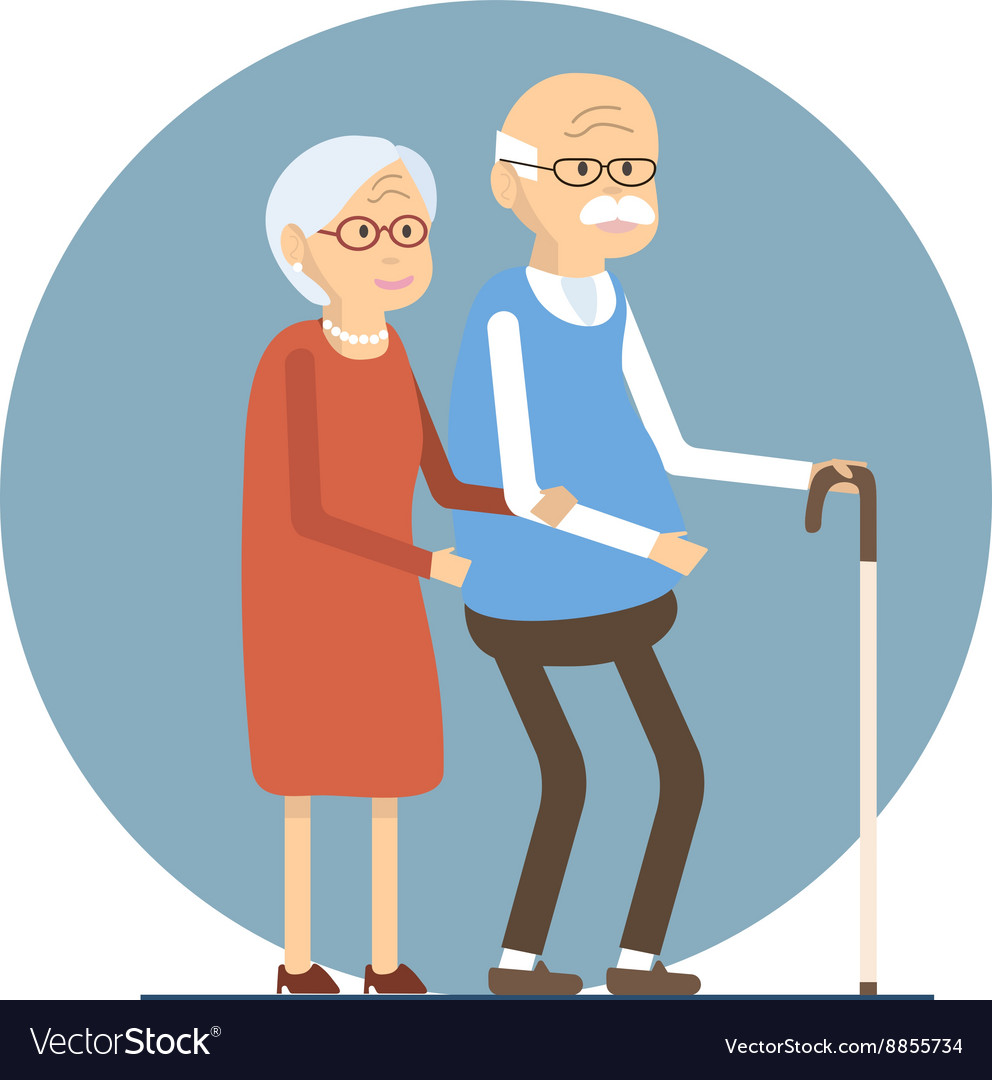 Senior Couple Walking vector image