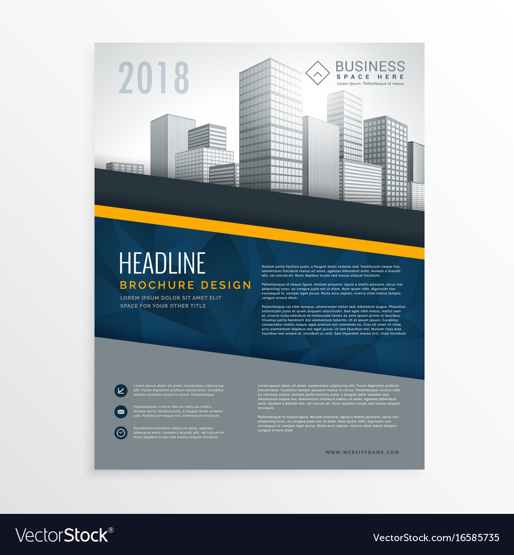 brochure front cover design - blue annual report brochure cover page design vector image