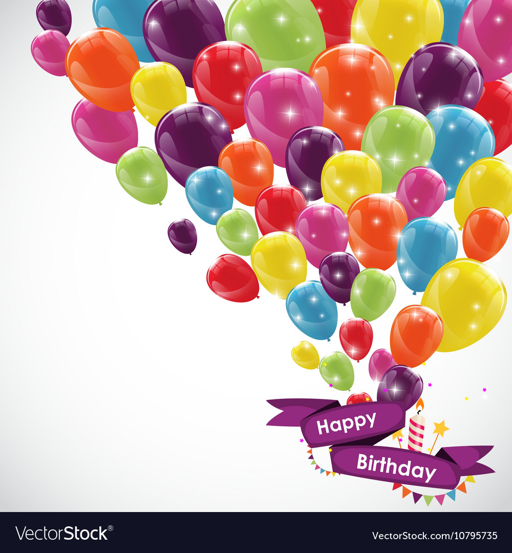 Happy birthday card template with balloons ribbon vector image bookmarktalkfo Images