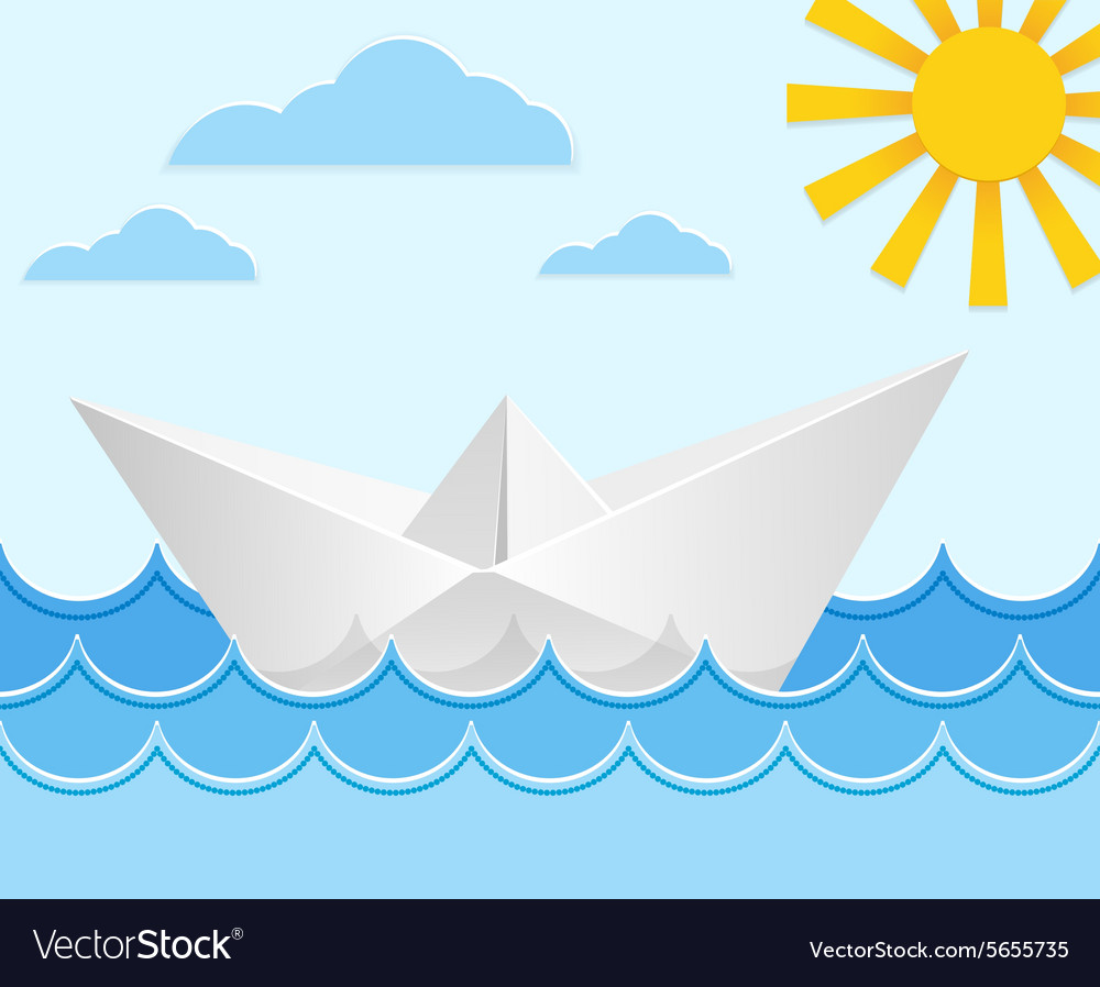 Origami paper ship on ocean waves vector image