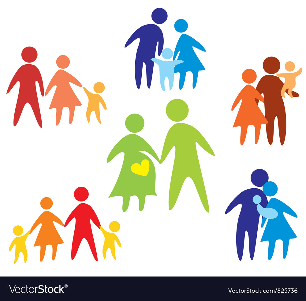 Family colored set of icons vector image