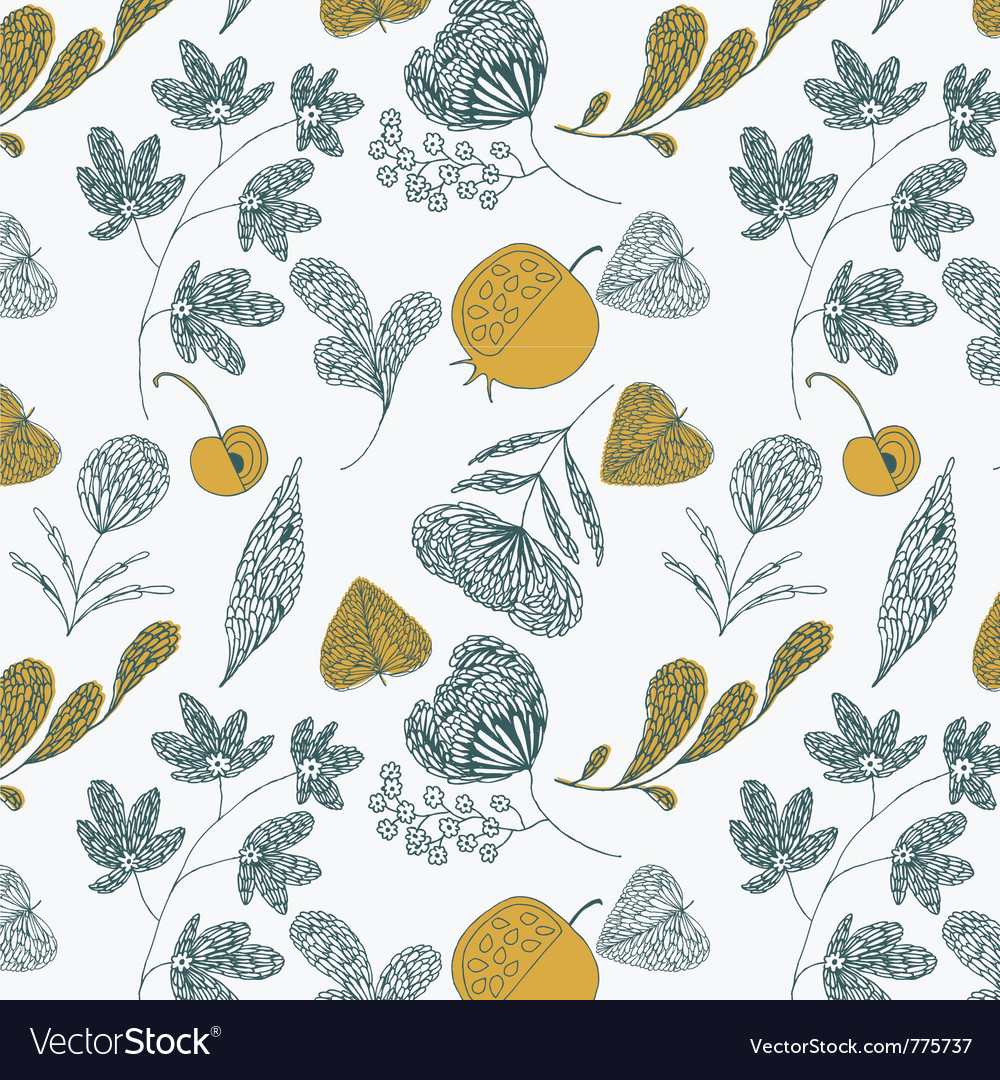 Fruit and leaves vector image