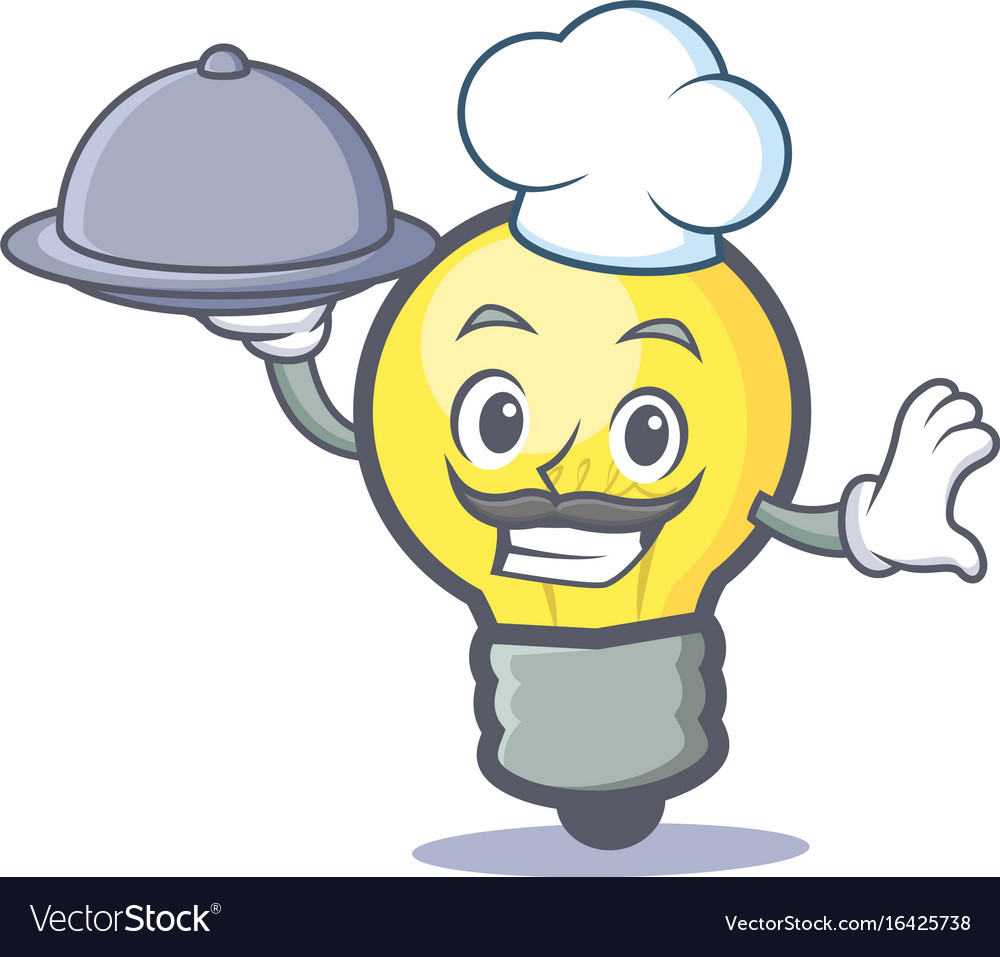 Chef light bulb character cartoon with food vector image