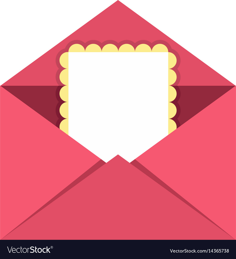 Greeting card in pink envelope icon isolated vector image kristyandbryce Gallery