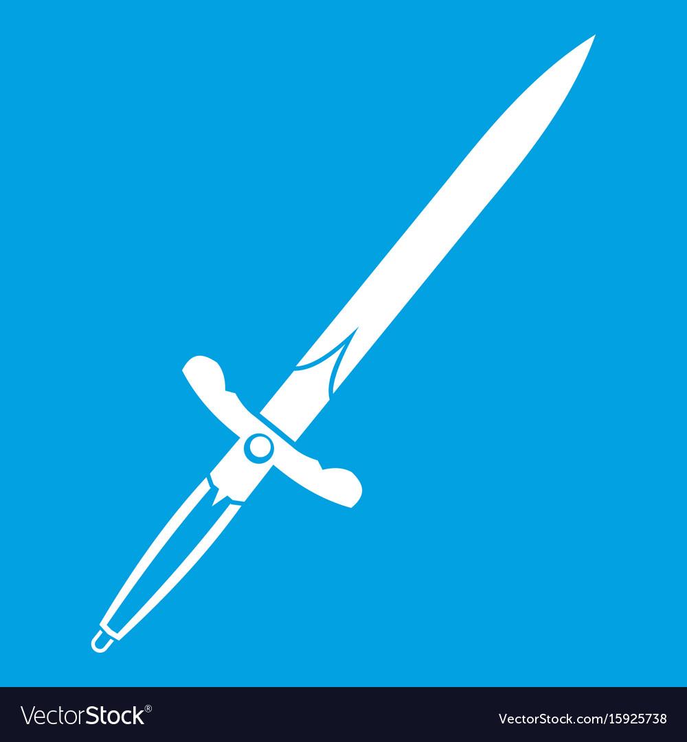 Sword icon white vector image