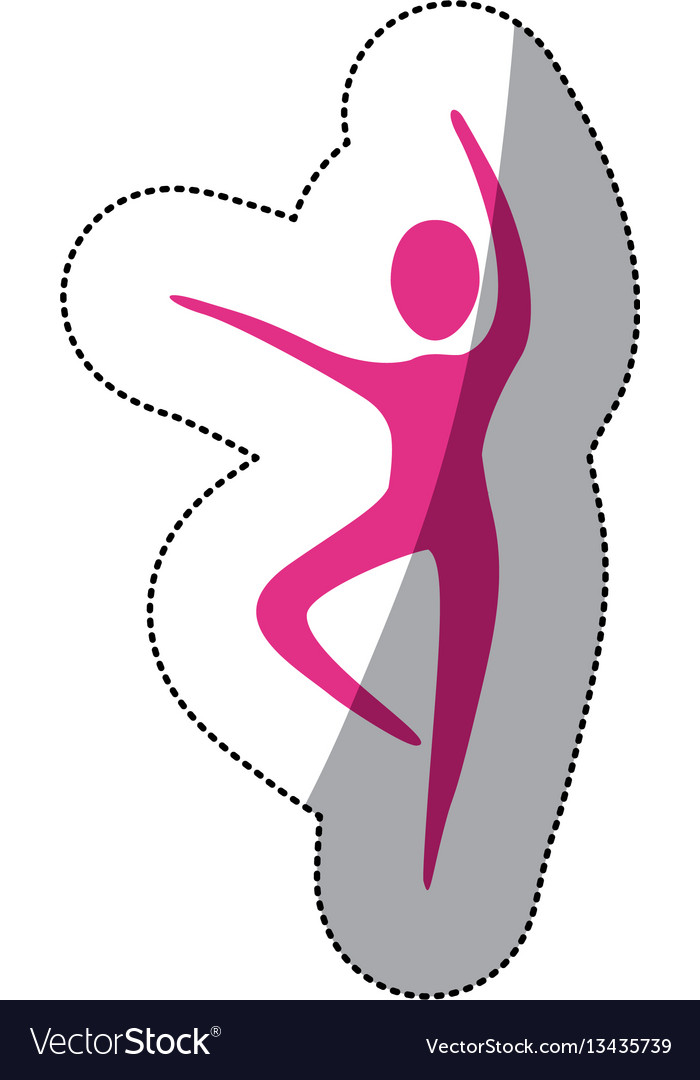 Fuchsia person dancing icon vector image