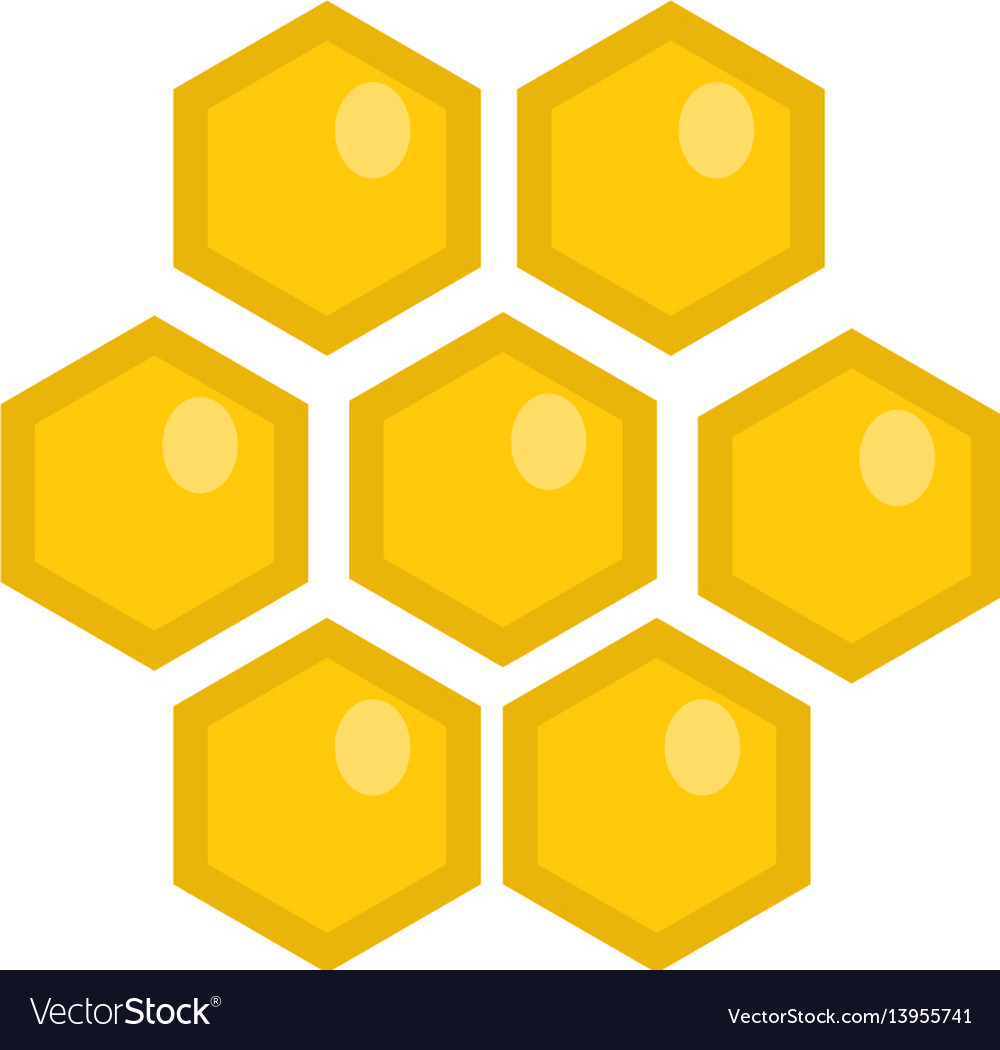 Honey comb icon flat style isolated on white vector image