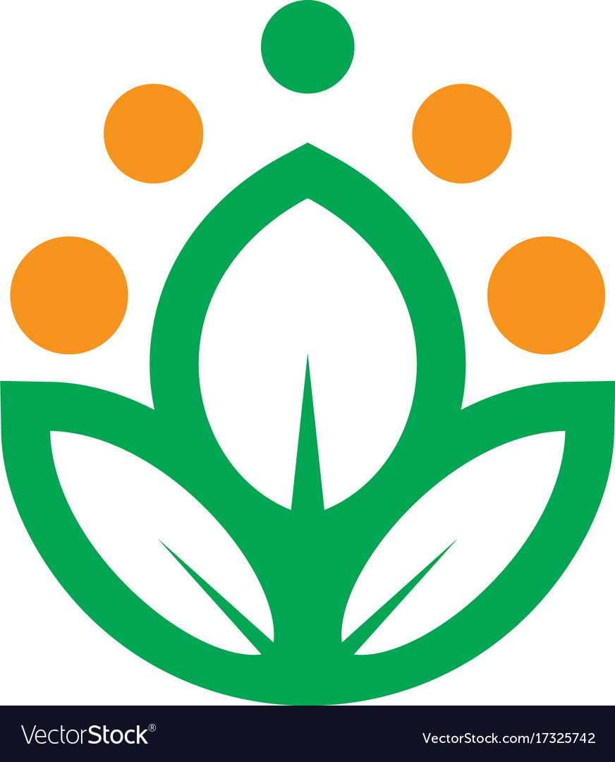 Abstract leaf dot eco logo vector image