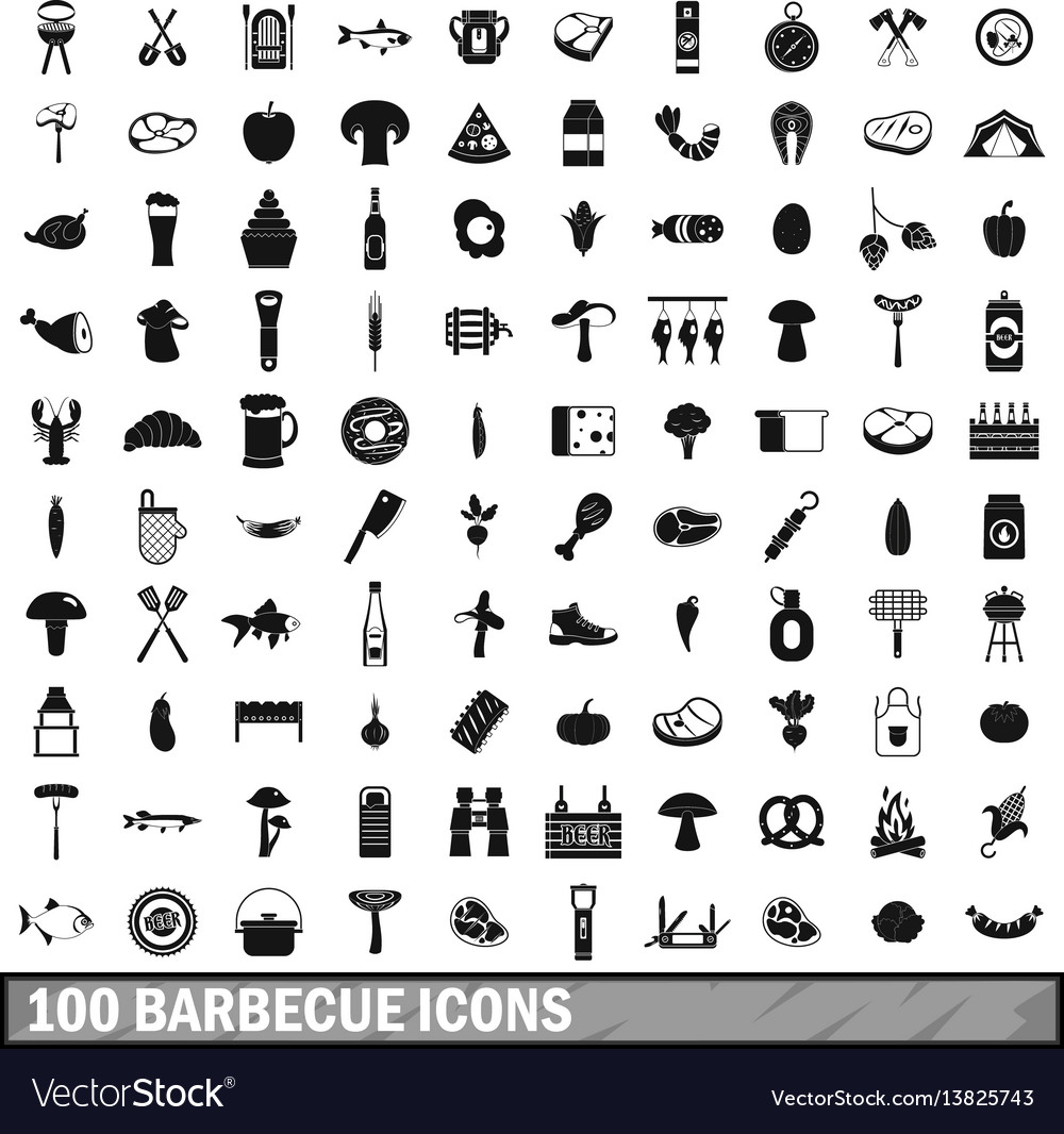 100 barbecue icons set simple style vector image