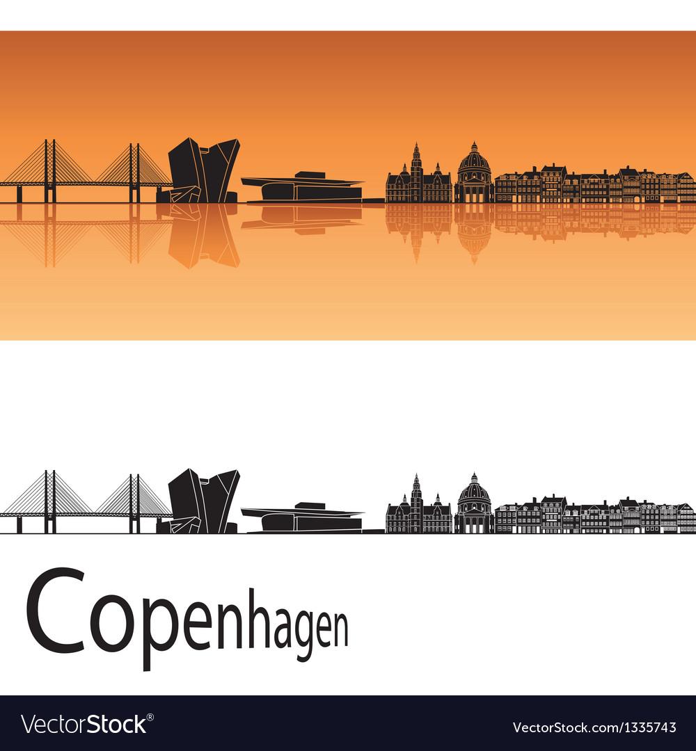 Copenhagen skyline in orange background vector image
