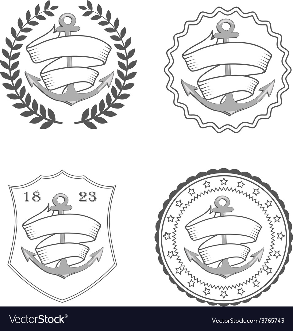 Nautical anchor with rope and ribbon vector image