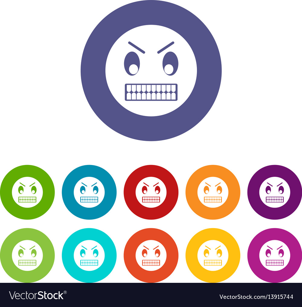 Angry emoticon set icons vector image