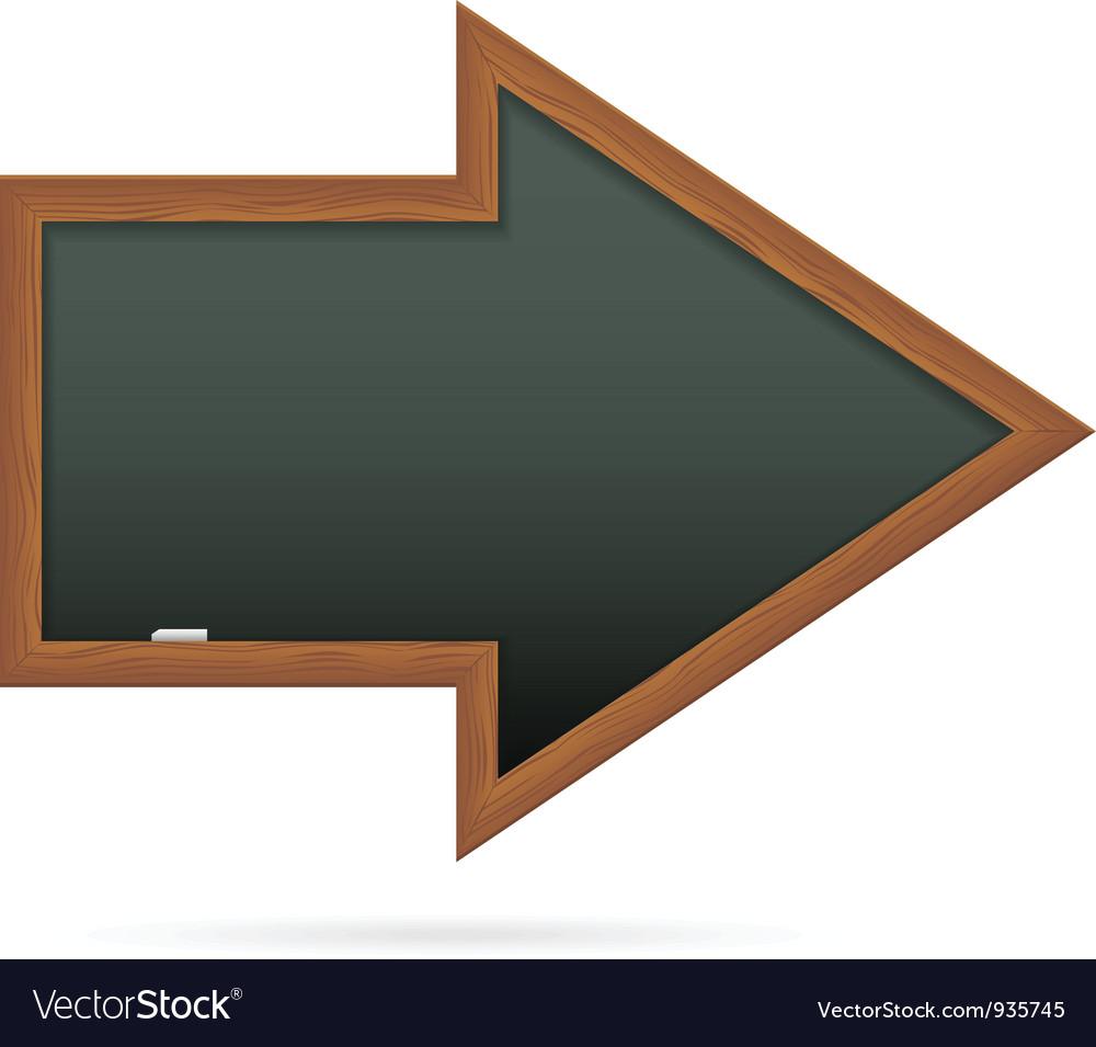 Blackboard in the shape of arrow vector image