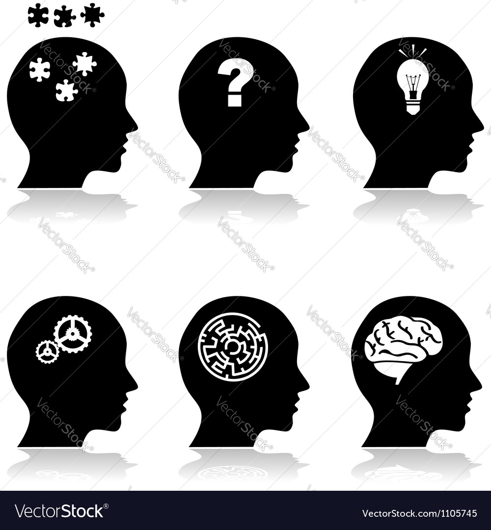 Heads thinking vector image